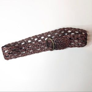Tommy Bahama Womens Leather Brown Braided Belt